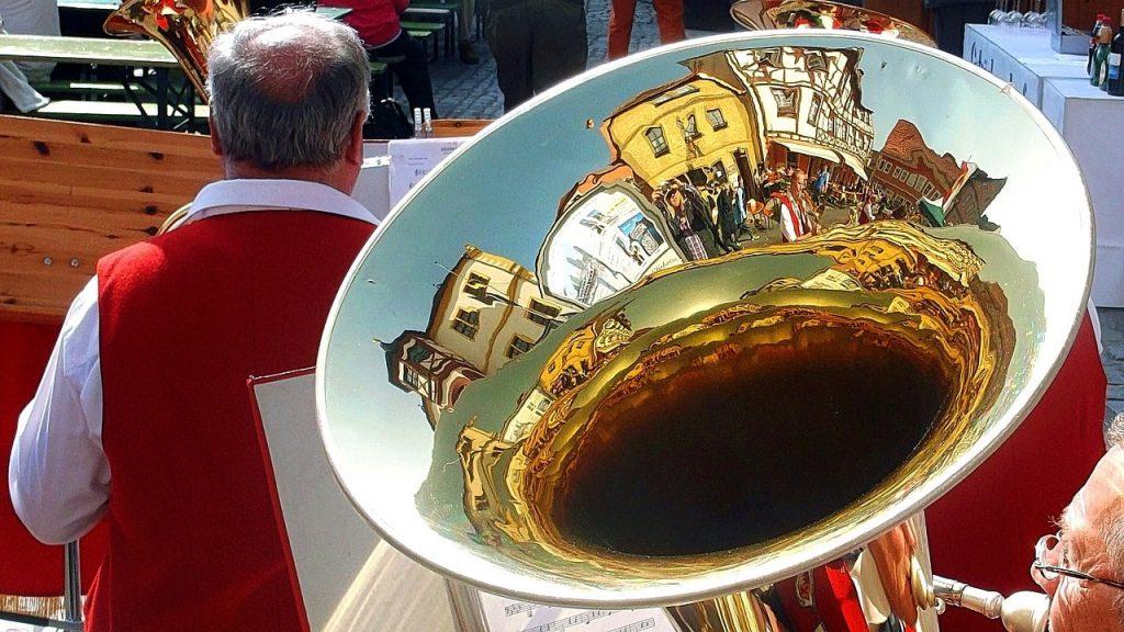 tuba player in folk festival