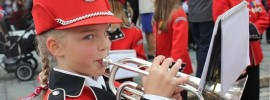 Cornet playing tuba