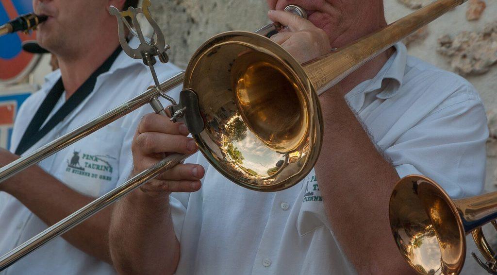 street musician with trombone
